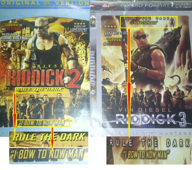 """Riddick 1 dan Riddick 2 , judulnya sama """"Rule The Dark"""""""