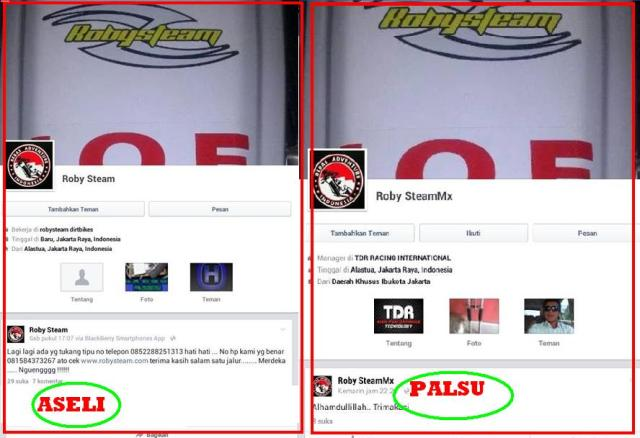 Contoh pengklonningan akun penjual on line di Facebook, akun palsu nampaknya sudah tutup