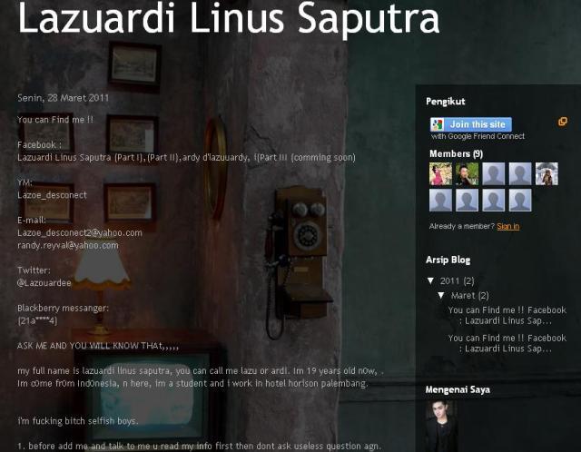 Facebook : Lazuardi Linus Saputra (Part I),(Part II),ardy d'lazuuardy, i(Part III