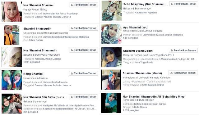 puluhan bahkan mungkin ribuan, akun FB memakai foto Nur Shamimi Sajim