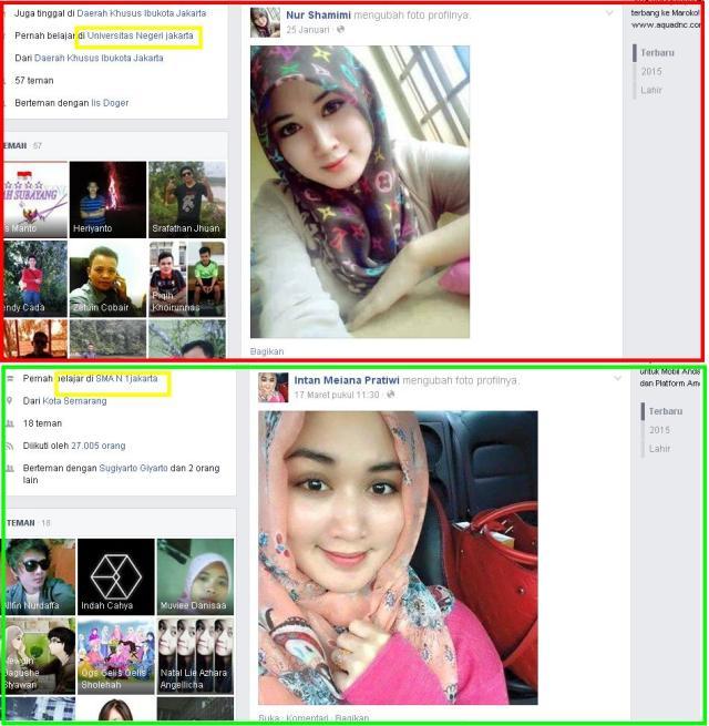 2 akun berbeda, beda nama, foto milik satu orang yang dicolong, Nur Shamimi asal Malaysia