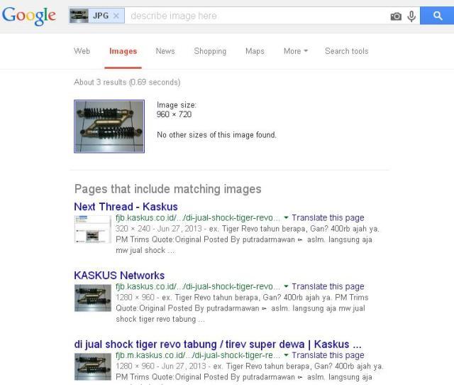 membuka google image untuk ungkap penjual online