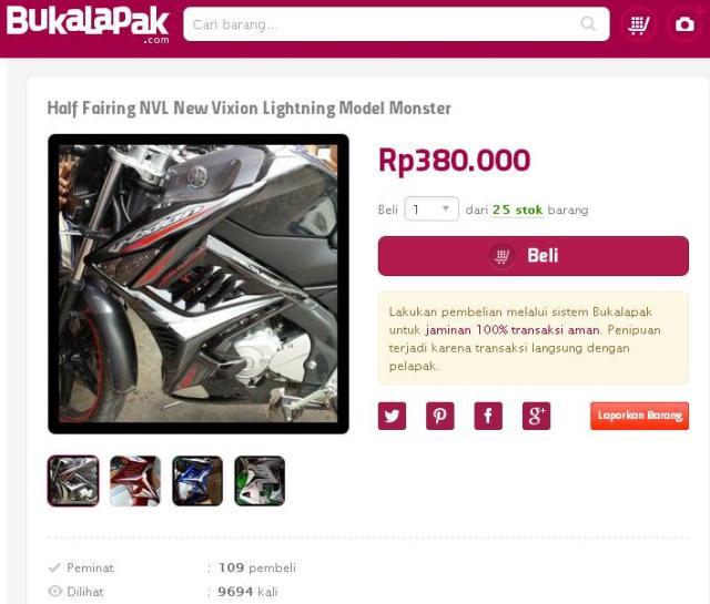 harga half fairing new vixion 380 ribu