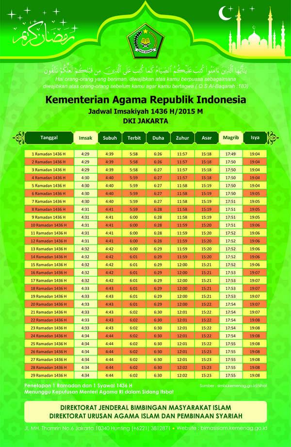 Imsakiyah Ramadan 1436 H untuk DKI Jakarta dan sekitarnya