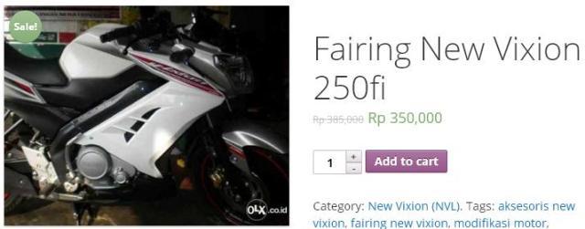 harga half fairing new vixion 350 ribu