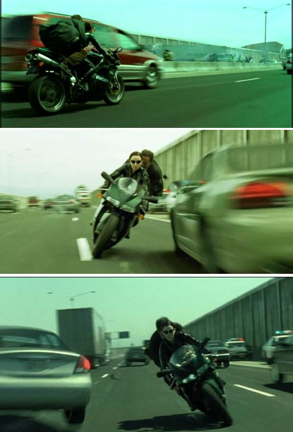 Carrie-Anne Moss as Trinity on Ducati 996 in The matrix Reloaded