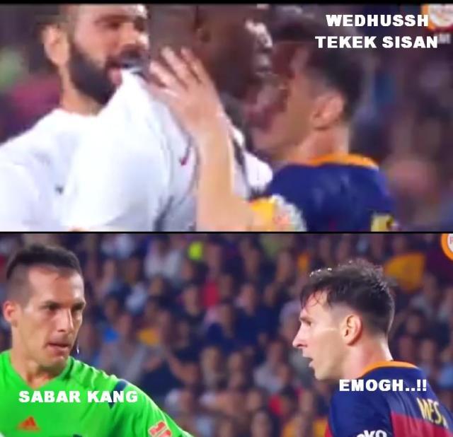 Lionel Messi Headbutts Mapou Yanga-Mbiwa