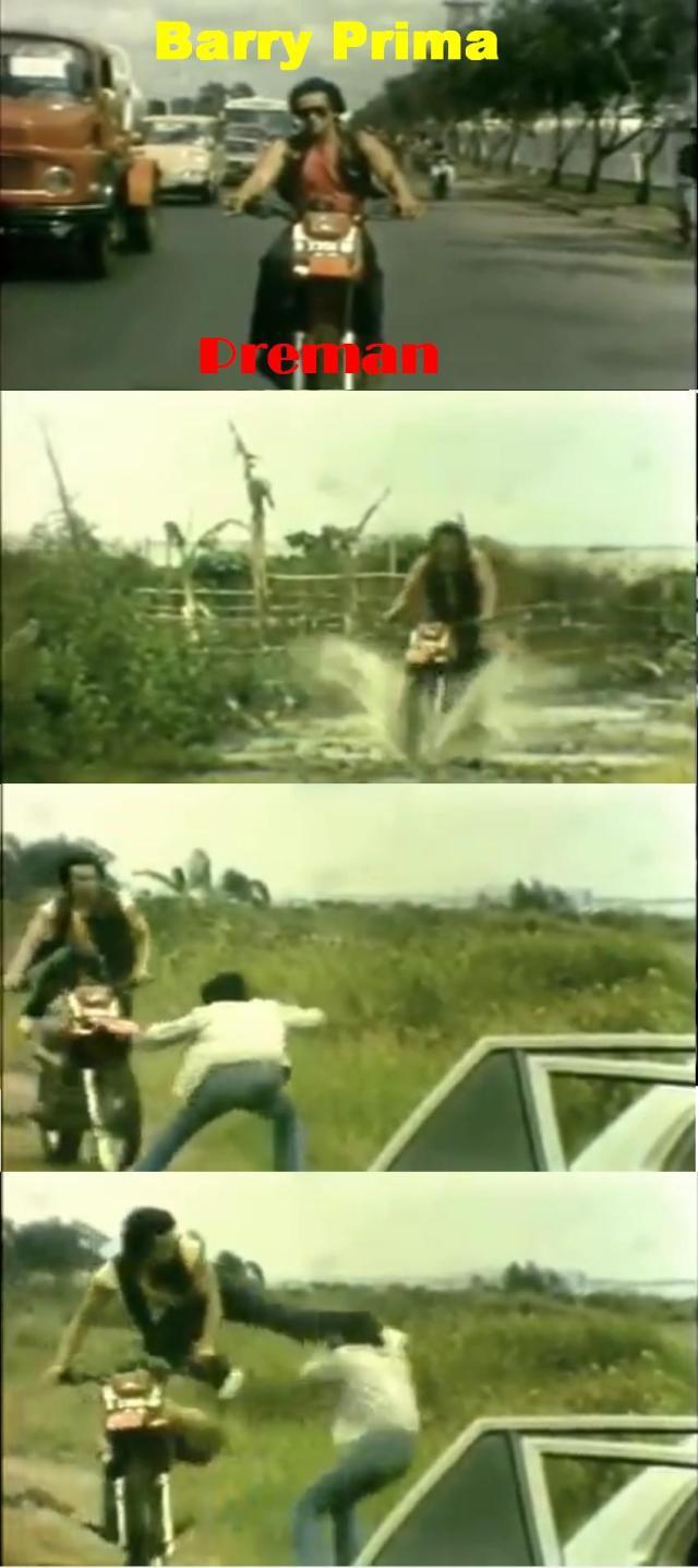 barry prima on trail bike in Preman 1985 movie