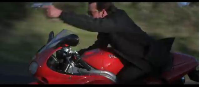 Dougray Scott on Triumph Sprint in Mission Impossible 2