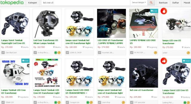 harga headlamp led cree u5, tokopedia