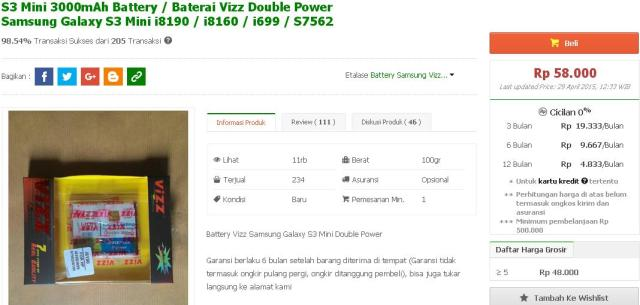 harga-bateray-double-power-galaxy-s3-mini-3000mah-tokopedia