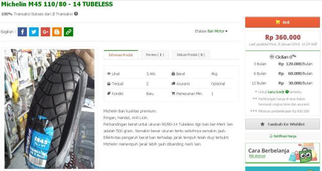 harga ban michellin M-45 ring 14 di tokopedia