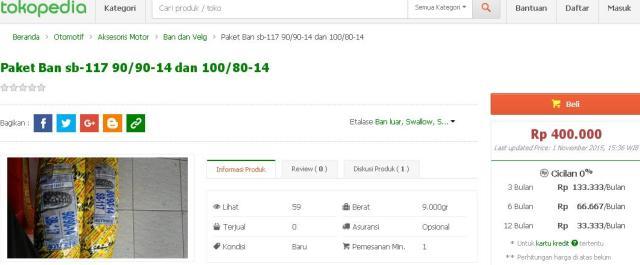 harga ban street enduro ring 14 swallow sb-117 di tokopedia
