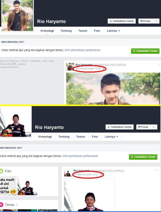 akun baru Rio Haryanto di Facebook mencurigakan